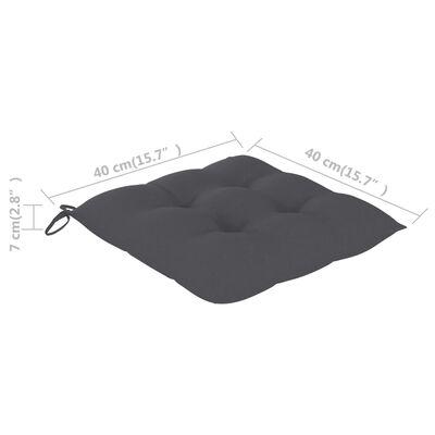 vidaXL Stoelkussens 4 st 40x40x7 cm stof antraciet