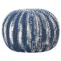 vidaXL Poef handgebreid 50x35 cm wol blauw en wit