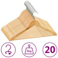 vidaXL 20-delige Kledinghangerset anti-slip hardhout