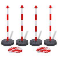 vidaXL Set van 4 kettingpalen en 2 kunststof kettingen van 10 m