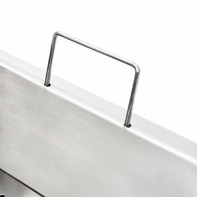 vidaXL Elektrische friteuse dubbel 4000 W 12 L roestvrij staal