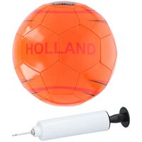 Oranje voetbal Holland - 21 cm/maat 5 - Inclusief pomp en net -