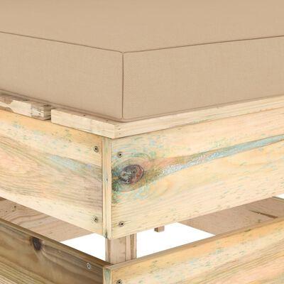 vidaXL Middenbank sectioneel met kussens groen geïmpregneerd hout