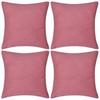 Kussenhoezen katoen 40 x 40 cm roze 4 stuks