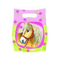 Amscan feestzakjes paarden 8 stuks 23 cm geel/roze