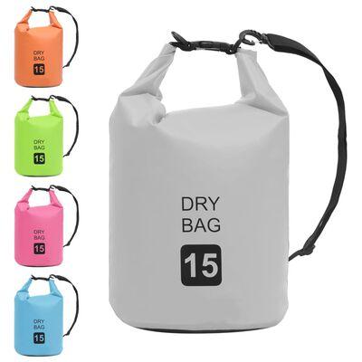vidaXL Drybag 15 L PVC grijs