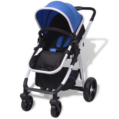 vidaXL Wandelwagen 3-in-1 aluminium blauw en zwart