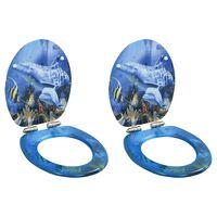 vidaXL Toiletbrillen 2 st met soft-close deksels MDF dolfijnontwerp