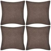 Kussenhoezen linnen look 50 x 50 cm bruin 4 stuks