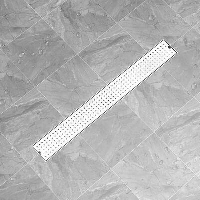 vidaXL Doucheafvoer gestippeld 93x14 cm roestvrij staal
