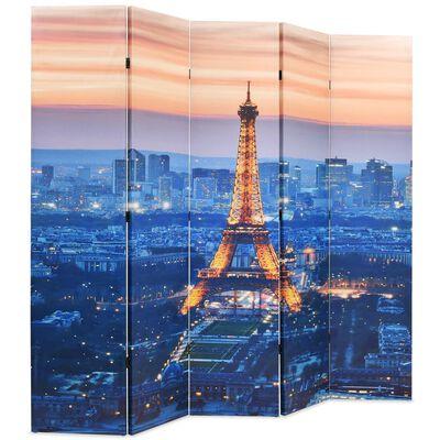 vidaXL Kamerscherm inklapbaar Parijs bij nacht 200x170 cm