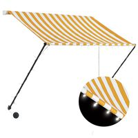 vidaXL Luifel uittrekbaar met LED 150x150 cm geel en wit