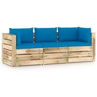 vidaXL Tuinbank 3-zits met kussens groen geïmpregneerd hout