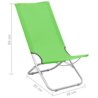 vidaXL Strandstoelen 2 st inklapbaar stof groen