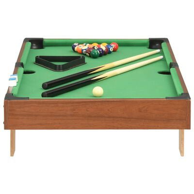 vidaXL Minipooltafel 3 Feet 92x52x19 cm bruin en groen
