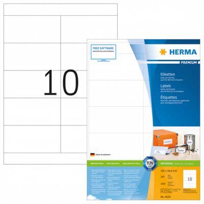 HERMA Etiketten wit 105x50.8 Premium A4 2000 st. Wit