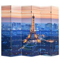 vidaXL Kamerscherm inklapbaar Parijs bij nacht 228x170 cm