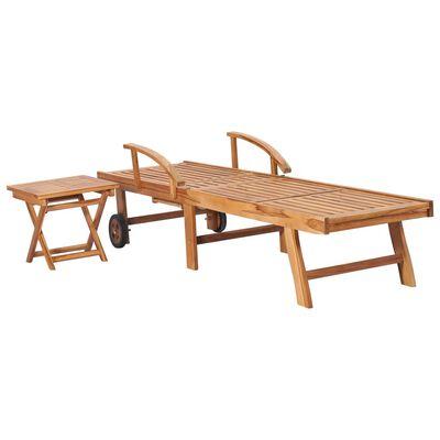 vidaXL Ligbed met tafel en kussen massief teakhout