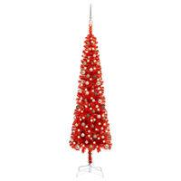vidaXL Kerstboom met LED's en kerstballen smal 240 cm rood