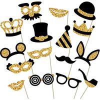 Foto prop voor feest 12-pack goud / zwart