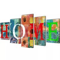 Canvasdoeken kleurrijk huis 100 x 50 cm