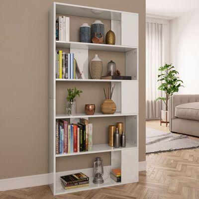 vidaXL Boekenkast/kamerscherm 80x24x159 cm spaanplaat hoogglans wit