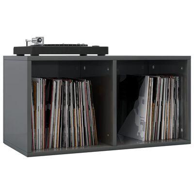 vidaXL Opbergbox voor LP's 71x34x36 cm spaanplaat hoogglans grijs
