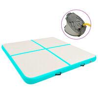vidaXL Gymnastiekmat met pomp opblaasbaar 200x200x10 cm PVC groen