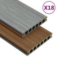 vidaXL Terrasplanken met accessoires 36 m² 2,2 m HKC bruin en grijs