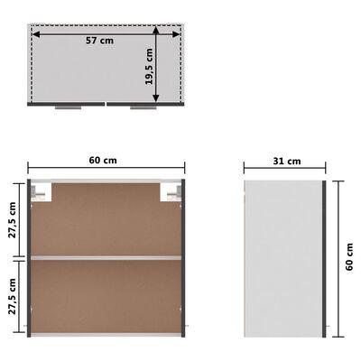 vidaXL Hangkast 60x31x60 cm spaanplaat hoogglans grijs