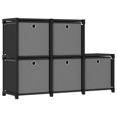vidaXL Kast met 5 vakken met boxen 103x30x72,5 cm stof zwart