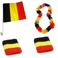 België Fanset 4-delig zwart/geel/rood