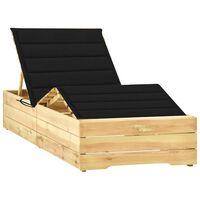 vidaXL Ligbed met zwart kussen geïmpregneerd grenenhout
