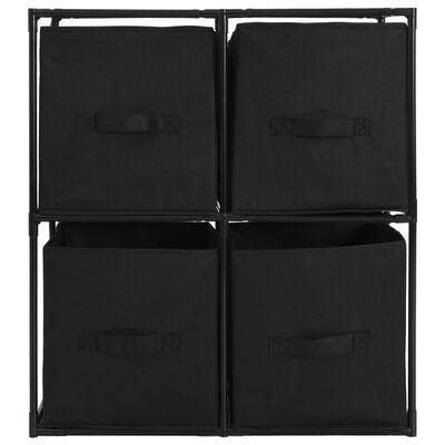 vidaXL Opbergkast met 4 stoffen manden 63x30x71 cm staal zwart