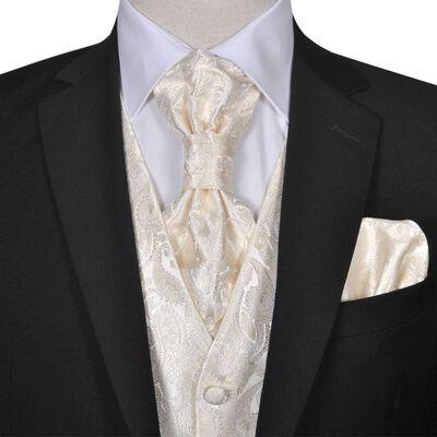Gilet set mannen paisleymotief bruiloft maat 50 crème