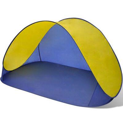 Opvouwbare strandtent waterafstotend en met UV bescherming (geel)