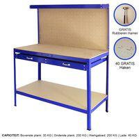 Werkbank met ophangbord en lade - kleur blauw - ophangbord