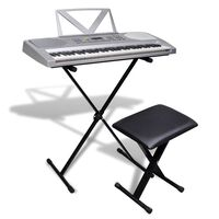 Keyboard met 61 toetsen + verstelbare standaard en een stoel
