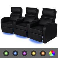 vidaXL Leunstoel 3-zits LED kunstleer zwart