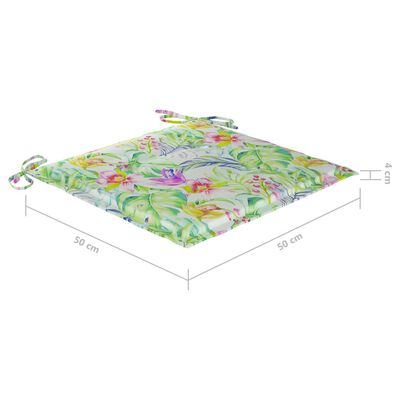 vidaXL Tuinstoelen 6 st met bladpatroon kussens massief teakhout