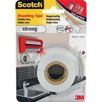 Scotch montagetape Strong, ft 19 mm x 1,5 m, blisterverpakking