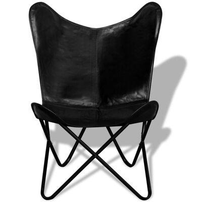 vidaXL Vlinderstoel echt leer zwart