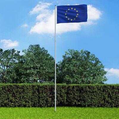 vidaXL Vlag met vlaggenmast Europa 6 m aluminium