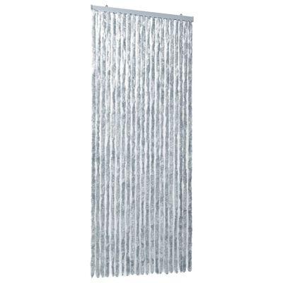 vidaXL Vliegengordijn 90x220 cm chenille wit en grijs