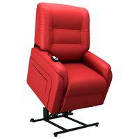 vidaXL Fauteuil elektrisch sta-op-stoel kunstleer rood