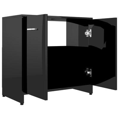 vidaXL Badkamerkast 60x33x58 cm spaanplaat hoogglans zwart