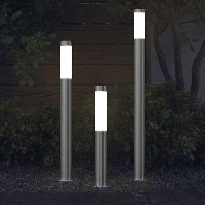 vidaXL 3-delige Tuinlampenset waterdicht roestvrij staal