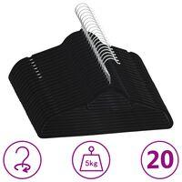 vidaXL 20-delige Kledinghangerset anti-slip fluweel zwart