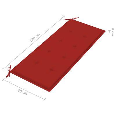 vidaXL Tuinbank met rood kussen 120 cm massief teakhout