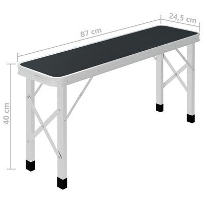 vidaXL Campingtafel inklapbaar met 2 banken aluminium grijs